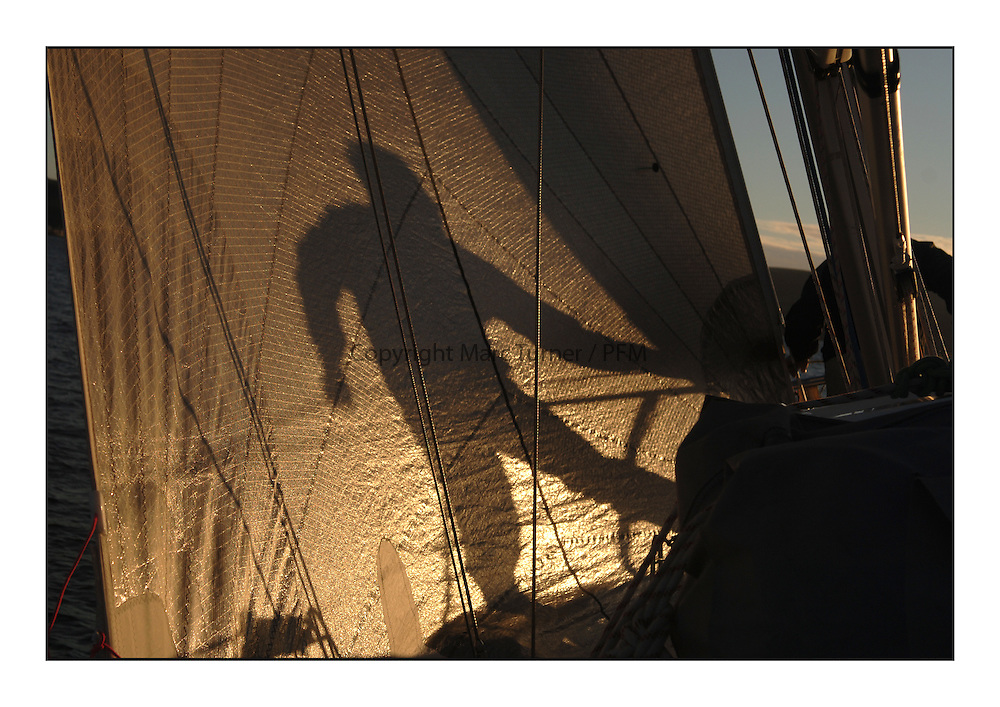 The bowman shadow during the Ailsa Craig race onboard Pure Magic.