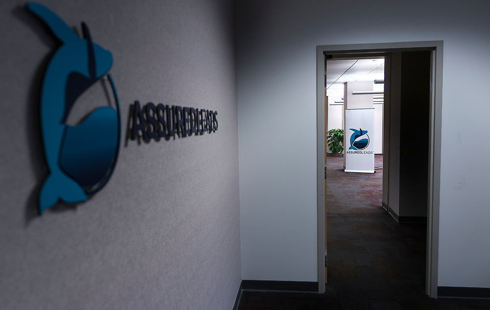 A view of the entrance to the AssuredLeads office on the 6th floor of the former Oscar Mayer headquarters building in Madison, WI on Friday, May 17, 2019.