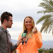 Caroline Wozniacki takes part in the WTA All-Access Hour at the Indian Wells Tennis Garden in Indian Wells, California Tuesday, March 11, 2015.<br /> (Photo by Billie Weiss/BNP Paribas Open)