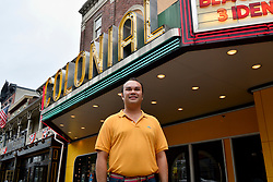 Mayor Peter Ursucheler poses for a photo in front of the Colonial, located in the hart of the commercial corridor on Bridge Street in Phoenixville, PA, on August 21, 2018.