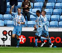 Photo: Richard Lane/Richard Lane Photography. Coventry City v Norwich City. Coca-Cola Championship. 09/08/2008. Coventry's Elliot Ward celebrates scoring a goal from a penalty.