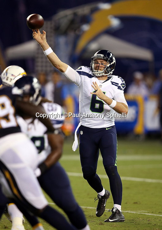 Seattle Seahawks quarterback R.J. Archer (6) throws a pass during the 2015 NFL preseason football game against the San Diego Chargers on Saturday, Aug. 29, 2015 in San Diego. The Seahawks won the game 16-15. (©Paul Anthony Spinelli)