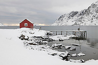 Remote house in coastal landscapeSkjelfjord Flakstadoya  Loftofen Norway