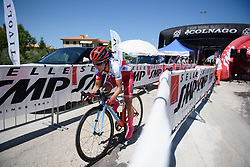 Eri Yonamine begins Stage 5 of the Giro Rosa - a 12.7 km individual time trial, starting and finishing in Sant'Elpido A Mare on July 4, 2017, in Fermo, Italy. (Photo by Sean Robinson/Velofocus.com)