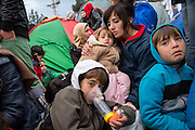 March 3, 2016, Idomeni, Greece. A young refugee from Syria uses medication against severe astma. He just spent 4 days in a Greek hospital. Refugees from Syria who hope to cross the border wait for hours at the Idomeni border crossing. Only a few get through every day and can continue their journey to Western Europe.   12.000 refugees are stuck at the Idomeni border crossing in Greece  after Macedonia closed the border.  New arrivals come in every day, making living conditions difficult.(Steven Wassenaar/Polaris)