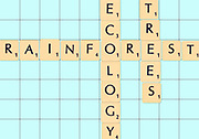 Digitally created Scrabble tiles on a board spelling out save our planet slogans, Rainforest, ecology and trees
