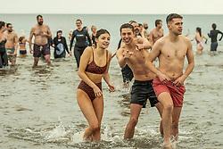 The annual impromptu dip in the sea on Portobello Beach<br /> © Jon Davey/ EEm