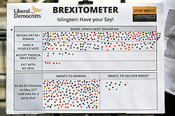 © Licensed to London News Pictures. 18/05/2019. London, UK. The Liberal Democrats Brexitometer where the members of the public chose their preferred option during the Liberal Democrats campaign in Islington, north London for the forthcoming European Parliament election. Photo credit: Dinendra Haria/LNP