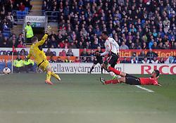 Liverpool's Daniel Sturridge scores past Cardiff City's David Marshall - Photo mandatory by-line: Alex James/JMP - Mobile: 07966 386802 22/03/2014 - SPORT - FOOTBALL - Cardiff - Cardiff City Stadium - Cardiff City v Liverpool - Barclays Premier League
