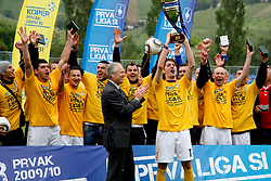 Players of Koper, Branko Florjanic of 1. SNL, Miran Pavlin of Koper celebrate championship after the football match between NK Nafta Lendava and NK Luka Koper of PrvaLiga league on May 16, 2010 in Lendava, Slovenia. Nafta lost 1 : 2, Koper became National champion.  (Photo by Urban Urbanc / Sportida)