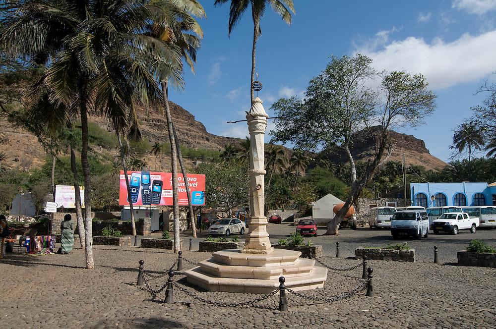Monument in form of a column. Ciudad Velha. Cidade Velha. Santiago. Cabo Verde. Africa.