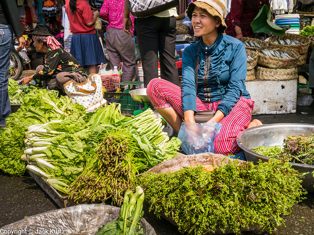 31 JANUARY 2013 - PHNOM PENH, CAMBODIA: A woman sells fresh vegetables in a market in Phnom Penh, Cambodia. Many Cambodians don't refrigerators and buy fresh food nearly every day.     PHOTO BY JACK KURTZ