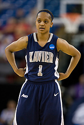 March 29, 2010; Sacramento, CA, USA; Xavier Musketeers guard Special Jennings (1) during the first half against the Stanford Cardinal in the finals of the Sacramental regional in the 2010 NCAA womens basketball tournament at ARCO Arena. Stanford defeated Xavier 55-53.