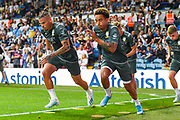 Leeds United midfielder Kalvin Phillips (23) warming up during the EFL Cup match between Leeds United and Stoke City at Elland Road, Leeds, England on 27 August 2019.