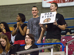 A Bluefield fan holds up a sign during a first round game at the Charleston Civic Center.