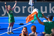 Shirley McCay of Ireland (10) celebrates after winning the shoot out (3-2) during the Vitality Hockey Women's World Cup 2018 Semi-Final match between Ireland and Spain at the Lee Valley Hockey and Tennis Centre, QE Olympic Park, United Kingdom on 4 August 2018. Picture by Martin Cole.