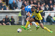 Andre Boucaud (Midfielder) Dagenham & Redbridge and Hartlepool United striker Jake Gray compete for the ball during the Sky Bet League 2 match between Hartlepool United and Dagenham and Redbridge at Victoria Park, Hartlepool, England on 12 March 2016. Photo by George Ledger.
