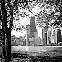 Black and white Chicago Hancock building and Chicago skyline through trees. Photo is vertical, high resolution and was taken in May 2010.