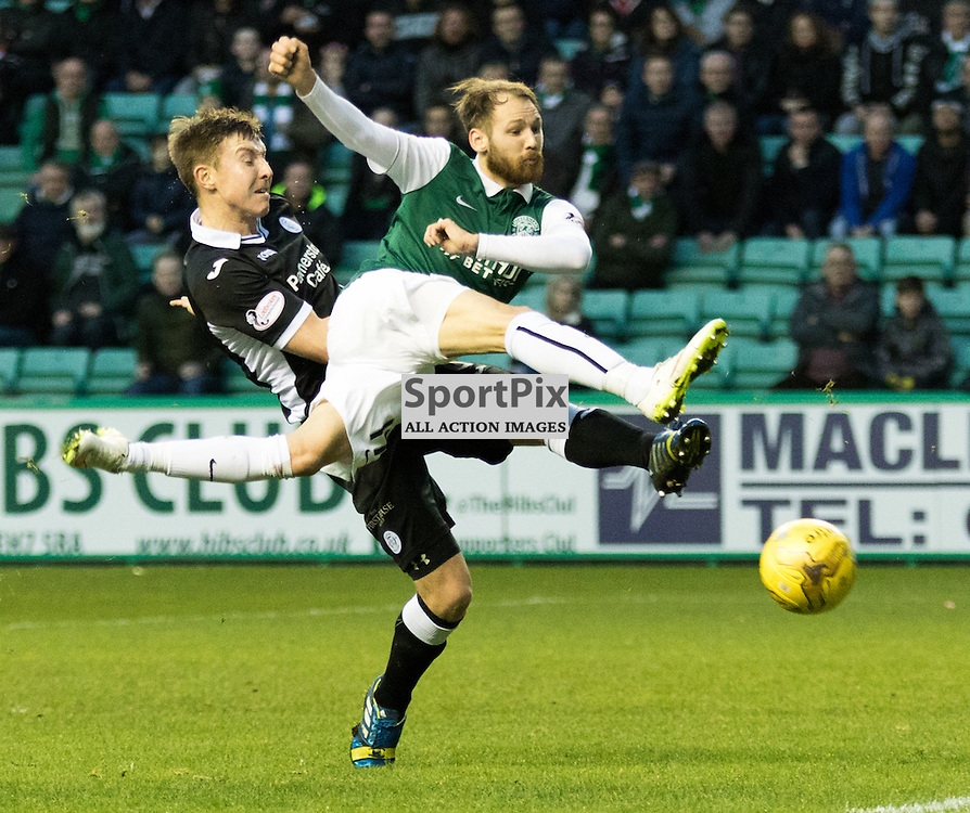 Hibernian's Martin Boyle gets in on goal during the Hibernian vs Queen of the South Scottish Championship 19th December 2015......(c) MARK INGRAM | SportPix.org.uk