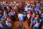 U.S. Senator and GOP presidential candidate Ted Cruz  surrounded by supporters speaks during a campaign stop at the Liberty Tap Room restaurant August 7, 2015 in Mt Pleasant, South Carolina. The event was the kick off for a seven-day bus tour called the Cruz Country Bus Tour of southern states.