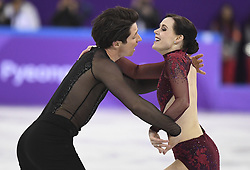 PYEONGCHANG, Feb. 12, 2018  Canada's Tessa Virtue (R) and Scott Moir compete during the ice dance free dance of figure skating team event at the 2018 PyeongChang Winter Olympic Games, in Gangneung Ice Arena, South Korea, on Feb. 12, 2018. Team Canada won the gold medal of figure skating team event with 73 points in total. (Credit Image: © Wang Song/Xinhua via ZUMA Wire)