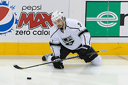 Dec 23, 2011; San Jose, CA, USA; Los Angeles Kings defenseman Drew Doughty (8) warms up before the game against the San Jose Sharks at HP Pavilion. San Jose defeated Los Angeles 2-1 in shootouts. Mandatory Credit: Jason O. Watson-US PRESSWIRE