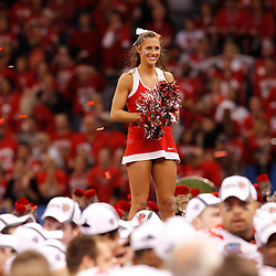 January 4, 2011; New Orleans, LA, USA;  A Ohio State Buckeyes cheerleader celebrates following a win over the Arkansas Razorbacks in the 2011 Sugar Bowl at the Louisiana Superdome.Ohio State defeated Arkansas 31-26. Mandatory Credit: Derick E. Hingle