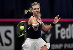 Great Britain's Katie Boulter in action against Valentini Gramma Tikopoulou during day two of the Fed Cup at Bath University.