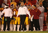 25 OCTOBER 2008: Iowa State head coach Gene Chizik in the second half of an NCAA college football game between Iowa State and Texas A&M, at Jack Trice Stadium in Ames, Iowa on Saturday Oct. 25, 2008. Texas A&M beat Iowa State 49-35.