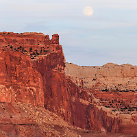 Full moon rise over Henry Mountains, Capitol Reef National Park. Near Torrey, Utah.