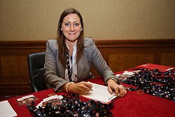 NEWPORT, WALES - Friday, May 29, 2015: Laura Hennessy during the Football Association of Wales' National Coaches Conference 2015 at the Celtic Manor Resort. (Pic by David Rawcliffe/Propaganda)