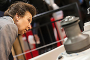 HRH Princess Anne does a tour with Vice Admiral Sir Tim Lawrence at the London Boat Show.Here they visit the Southerly stand and check out the 47. Excel, London, UK  8 January 2014 Guy Bell, 07771 786236, guy@gbphotos.com