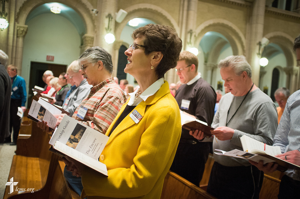 Dr. Beverly Yahnke, executive director for Christian counsel, sings during evening prayer at the DOXOLOGY Encore event on Friday, Feb. 21, 2014, in Springfield, Ill. LCMS Communications/Erik M. Lunsford