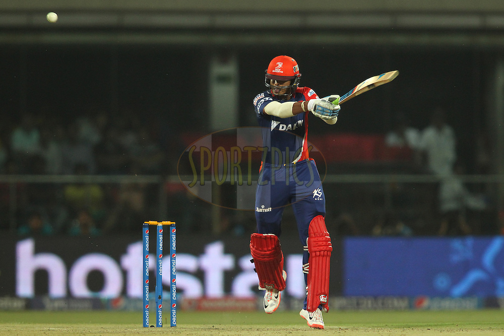 Shreyas Iyer of the Delhi Daredevils cuts a delivery over the top to the boundary during match 21 of the Pepsi IPL 2015 (Indian Premier League) between The Delhi Daredevils and The Mumbai Indians held at the Ferozeshah Kotla stadium in Delhi, India on the 23rd April 2015.<br /> <br /> Photo by:  Shaun Roy / SPORTZPICS / IPL