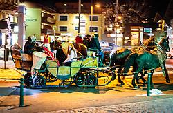 05.12.2017, Kaprun, AUT, Pinzgein Hl. Nikolaus mit Engeln und Krampus in einer Kutsche mit Pferdegespann // a St. Nicholas and Krampus with angels in a carriage with horse during a Krampus show. Krampus is a mythical creature that, according to legend, accompanies Saint Nicholas during the festive season. Instead of giving gifts to good children, he punishes the bad ones, Kaprun, Austria on 2017/12/05. EXPA Pictures © 2017, PhotoCredit: EXPA/ JFK