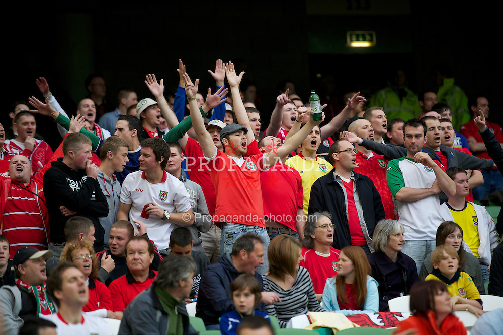 DUBLIN, REPUBLIC OF IRELAND - Friday, May 27, 2011: Wales supporters during the Carling Nations Cup match against Northern Ireland at the Aviva Stadium (Lansdowne Road). (Photo by David Rawcliffe/Propaganda)