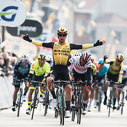 GROENEWEGEN Dylan ( NED ) – Team JUMBO - Visma ( TJV ) - NED – Winner - Final Sprint - Querformat - quer - horizontal - Landscape - Event/Veranstaltung: Driedaagse Brügge - De Panne - Category/Kategorie: Cycling - Road Cycling - Elite Men - Location/Ort: Europe – Belgium - Flanders - Start: Brügge - Finish: De Panne - Discipline: Road Race ( RR ) - Distance: 200,3 km - Date/Datum: 27.03.2019 – Wednesday - Photographer: © Arne Mill - frontalvision.com