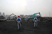TIANJIN, CHINA - AUGUST 24: (CHINA OUT) <br /> <br /> Chemical-defence Soldiers Detect Toxic Substance<br /> <br /> Workers clean at Tianjin blasts scene on August 26, 2015 in Tianjin, China. The death toll from the Tianjin warehouse explosions two weeks ago has risen to 139, and 34 others remain missing, rescue authorities said on Wednesday. <br /> ©Exclusivepix Media