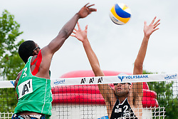 Thiago Santos Barbosa of Brasil vs Philip Dalhausser of USA at A1 Beach Volleyball Grand Slam tournament of Swatch FIVB World Tour 2011, on August 5, 2011 in Klagenfurt, Austria. (Photo by Matic Klansek Velej / Sportida)