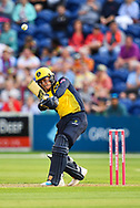 Owen Morgan of Glamorgan hits his sides first 6 of the match<br /> <br /> <br /> Photographer Craig Thomas/Replay Images<br /> <br /> Vitality Blast T20 - Round 4 - Glamorgan v Middlesex - Friday 26th July 2019 - Sophia Gardens - Cardiff<br /> <br /> World Copyright © Replay Images . All rights reserved. info@replayimages.co.uk - http://replayimages.co.uk