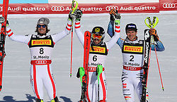 19.02.2017, St. Moritz, SUI, FIS Weltmeisterschaften Ski Alpin, St. Moritz 2017, Slalom, Herren, Siegerpräsentation, im Bild v.l. Manuel Feller (AUT, Herren Slalom Silbermedaille), Marcel Hirscher (AUT,Herren Slalom Herren Slalom Weltmeister und Goldmedaille), Felix Neureuther (GER, Herren Slalom Bronzemedaille) // f.l. men's Slalom Silver medalist Manuel Feller of Austria, men's Slalom world Champion and Gold medalist Marcel Hirscher of Austria, men's Slalom Bronze medalist Felix Neureuther of Germany during the winner presentation for the men's Slalom of the FIS Ski World Championships 2017. St. Moritz, Switzerland on 2017/02/19. EXPA Pictures © 2017, PhotoCredit: EXPA/ Sammy_Minkoff