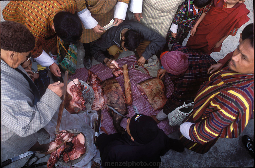 Meat is cut and sold at the Sunday market in Wangdi Phodrang, Bhutan, a two-hour walk from Shingkhey village. (Supporting image from the project Hungry Planet: What the World Eats.) Grocery stores, supermarkets, and hyper and megamarkets all have their roots in village market areas where farmers and vendors would converge once or twice a week to sell their produce and goods. In farming communities, just about everyone had something to trade or sell. Small markets are still the lifeblood of communities in the developing world.