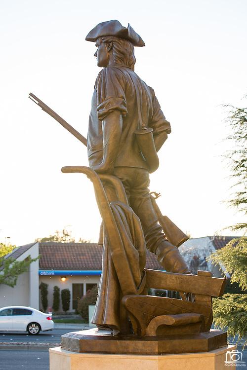 David Alan Clark's Milpitas Minute Man sculpture outside Milpitas City Hall in Milpitas, California, photographed on March 12, 2014. (Stan Olszewski/SOSKIphoto)