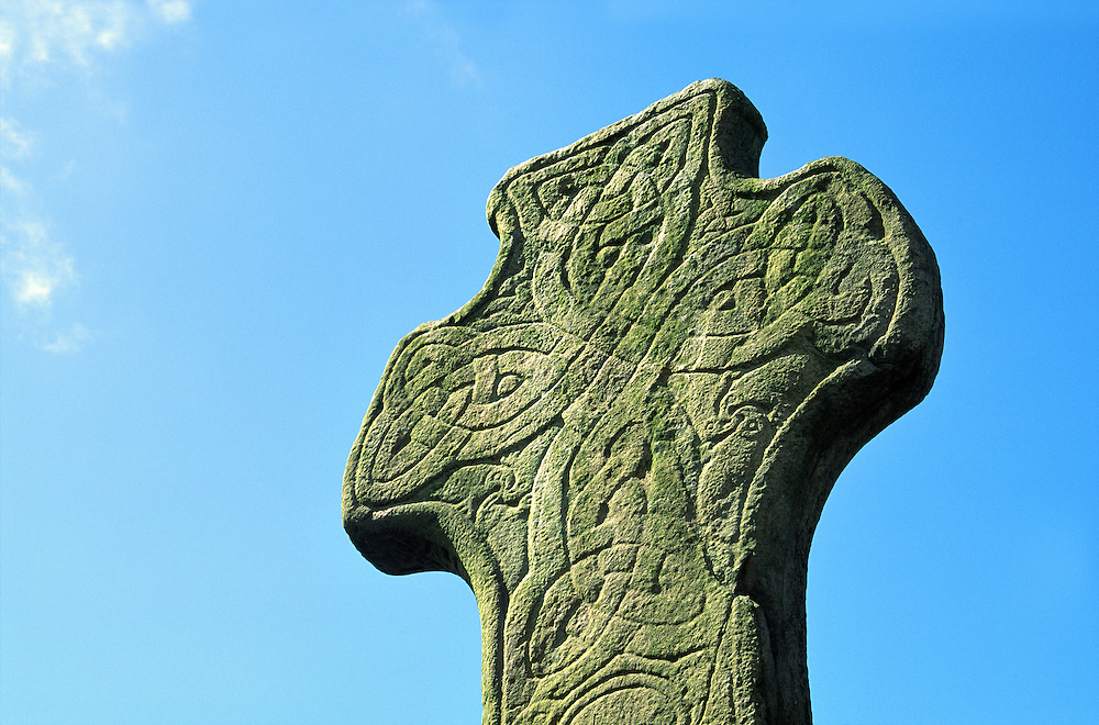 The Carndonagh Cross. Early Celtic Christian curvilinear style carved stone High Cross at Carndonagh, County Donegal, Ireland.