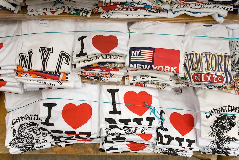 stacks of I Love NY and Chinatown t-shirts