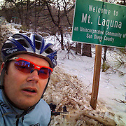 An iPhone self-portrait on Mt. Laguna, CA (5,079 ft). United Finance (formerly Finnegan's Toys / Discover Chiropractic) Cycling Team winter training camp, January 30 to February 5, 2010; Palm Springs, California.  Emerald Velo Cycling Club (EVCC).