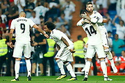 Real Madrid's Spanish defender Sergio Ramos celebrates after scoring during the Spanish championship Liga football match between Real Madrid CF and Leganes on September 1, 2018 at Santiago Bernabeu stadium in Madrid, Spain - Photo Benjamin Cremel / ProSportsImages / DPPI