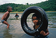 Children playing in the water in Brazil.