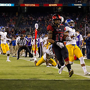 21 October 2016: The San Diego State Aztecs football team takes on the San Jose State Spartans Friday night at Qualcomm Stadium.  San Diego State running back Donnel Pumphrey (19) scores on a 27 yard rush in the second quarter. The Aztecs lead the Spartans 21-3 at halftime. www.sdsuaztecphotos.com