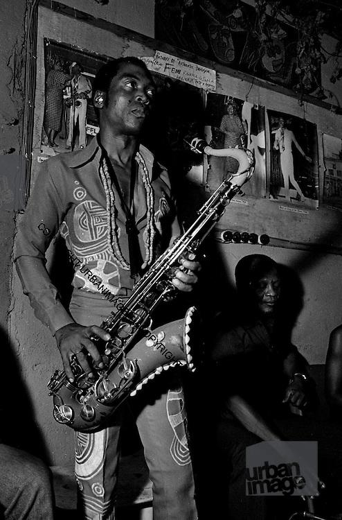 Fela Kuti backstage at the Shrine - Lagos
